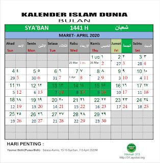Kalender Islam Bersatu Bulan Sya'ban 1441 H