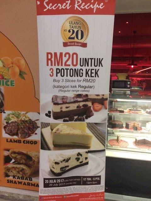 Secret Recipe Malaysia Cake Slice RM20 Promo