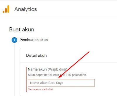 Masukkan nama akun google analytics dan klik berikutnya pada bagian bawah