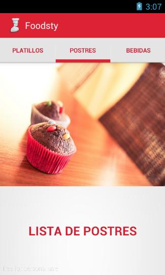 Aplicación Android de un Restaurante con solo texto en las Tabs