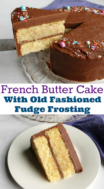 French vanilla butter cake wrapped with an old fashioned fudge frosting is the perfect birthday cake. This recipe is straight from my great-grandma's recipe box and is a timeless classic recipe.