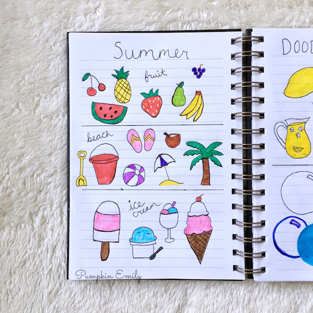 summer doodle ideas for bullet journal
