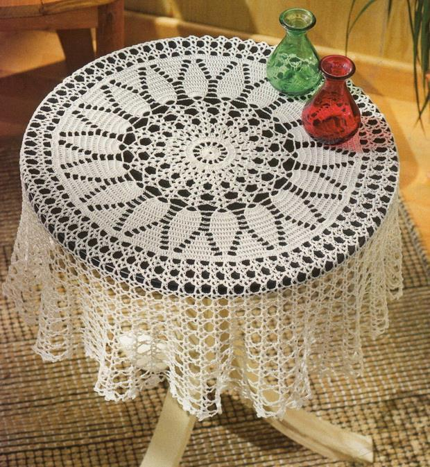 Crochet Tablecloth Pattern - Round Easy And Simple No:2
