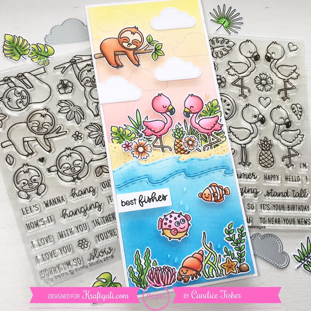 Sunny Studio Stamps: Silly Sloths Fabulous Flamingos Customer Card by Candice Fisher
