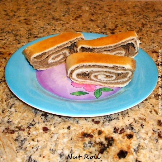 hungarian nut roll on pretty plate by jaguarjulie