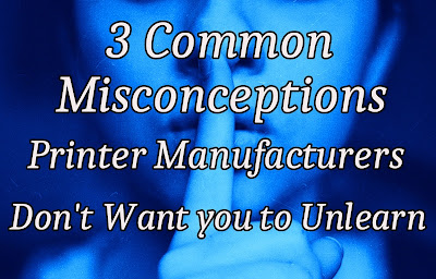 "Woman in blue filter with finger placed on her lips in  hushing motion with foreground  ""3 Common Misconceptions Printer Manufacturers Don't Want You to Unlearn"""