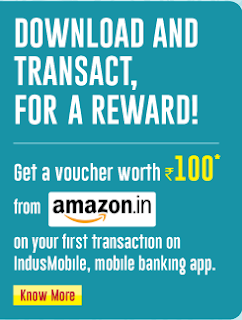 IndusMobile app - Get Rs.100 Amazon Gift Voucher on First Transaction