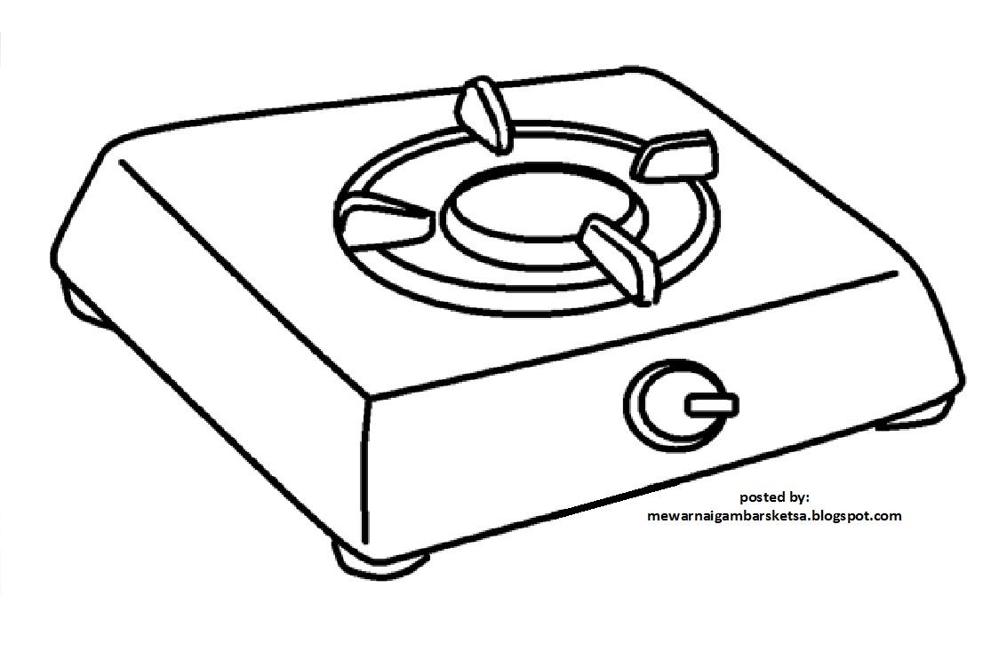 Mewarnai Gambar: Gambar Sketsa Peralatan Dapur