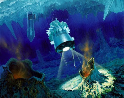 artist's concept of the cryobot and its deployed 'hydrobot' submersible. Right: Europa Lander Mission concept, Courtesy : NASA 2005