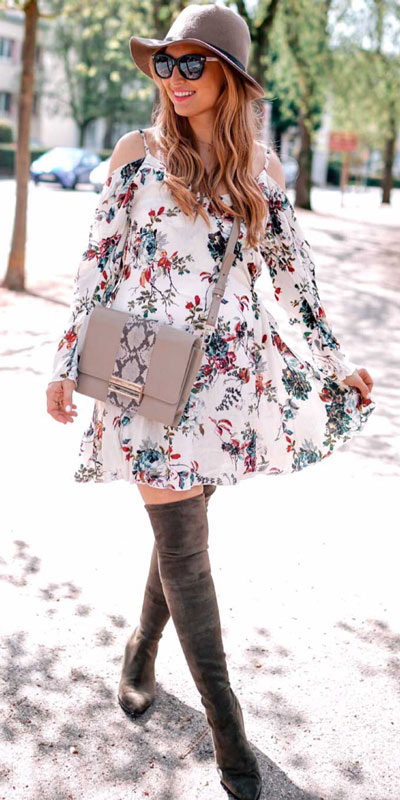 Perfect Instagram worthy outfits? See these 25 Breathtaking Fall Outfits for Going out. Women's Style + Date Outfits via higiggle.com | white floral mini dress | #falloutfits #dateoutfits #casualoutfits #minidress