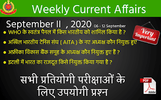 Weekly Current Affairs Quiz ( September II , 2020 )