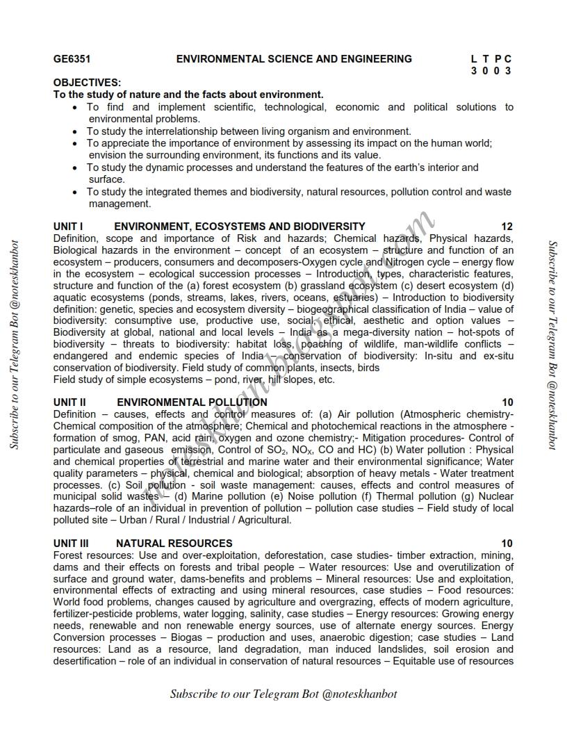 GE6351 ENVIRONMENTAL SCIENCE AND ENGINEERING Syllabus