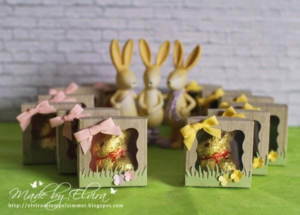 Osterverpackung für einen Mini-Lindt-Hasen mit Produkten von Stampin Up