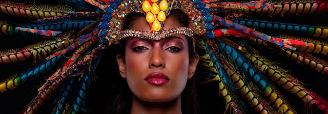 Woman wearing head dress in portrait photograph