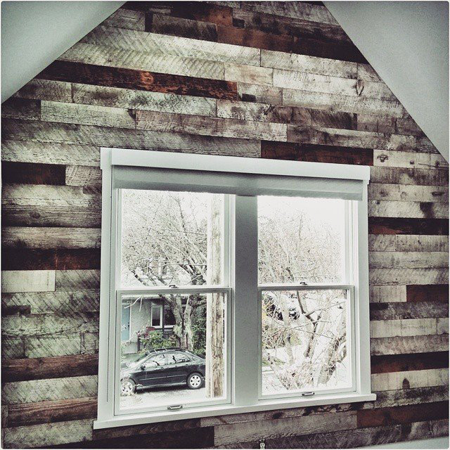 Barn wood feature wall for a Vancouver home.