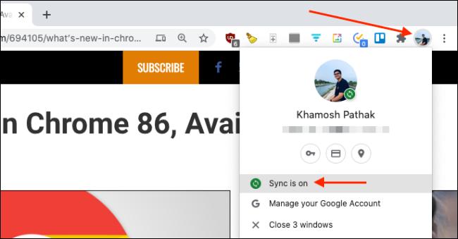 تأكد من تشغيل Sure Sync لـ Chrome على Mac