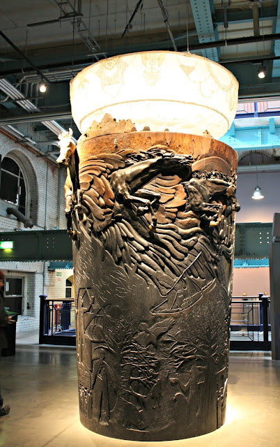 Wooden pint glass sculpture at Guinness Storehouse in Dublin, Ireland