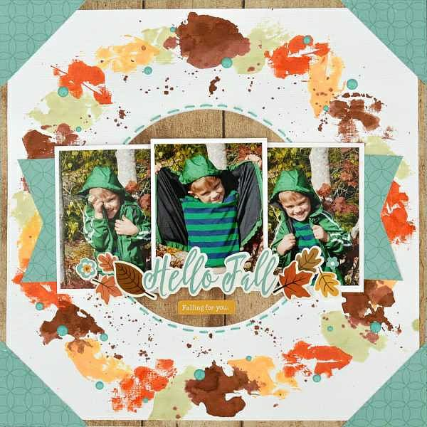 Using Mists for Stamping Fall Scrapbook Layout by Christine Meyer