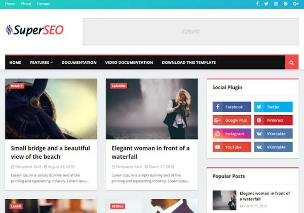 Super SEO Premium Blogger Template Free Download
