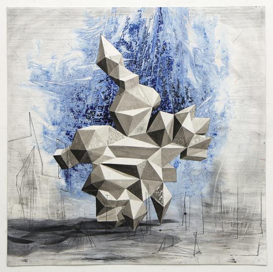 Lenneke van der Goot Up, 2019 mixed media on paper 40 x 40 cm