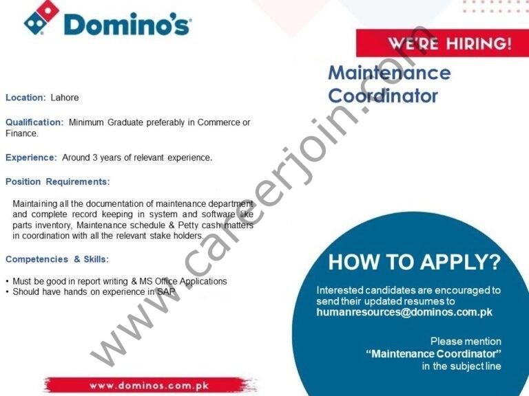 Domino's Pizza Pakistan Jobs Maintenance Coordinator