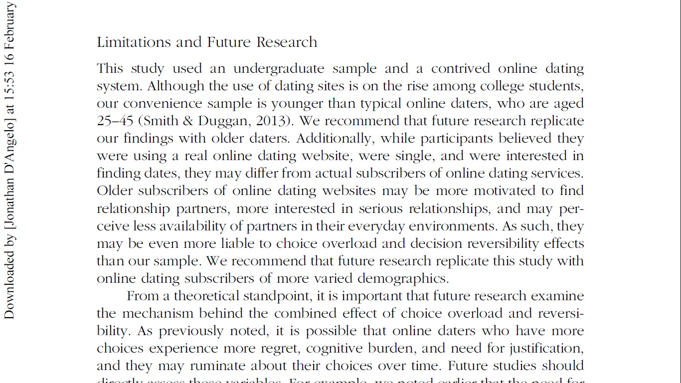 research papers on online dating
