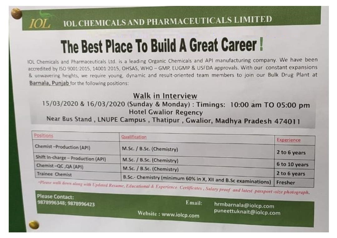 IOL Chemicals & Pharmaceuticals Ltd - Walk-Ins for Freshers & Experience - Production | QC | QA on 15th & 16th Mar' 2020