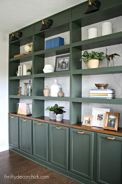 DIY built in bookcases made with cabinets