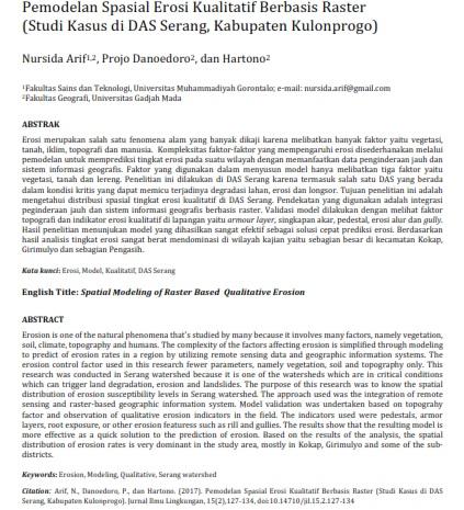 Pemodelan Spasial Erosi Kualitatif Berbasis Raster Studi Kasus di DAS Serang [PAPER]