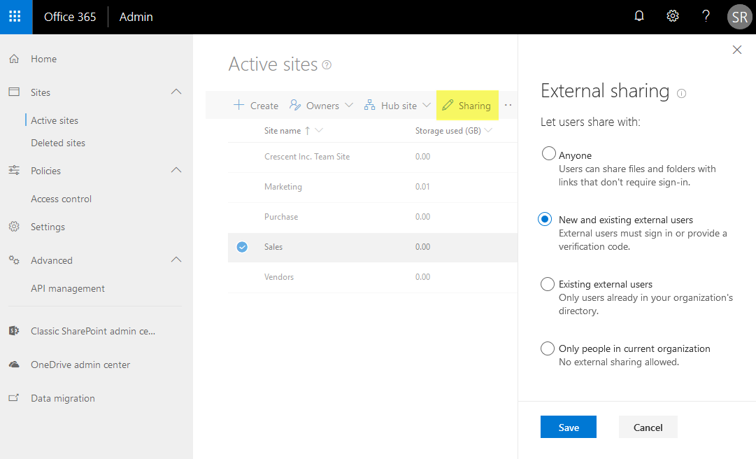 sharepoint online check if external sharing is enabled