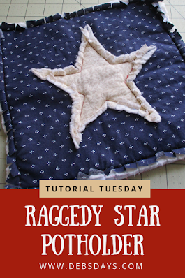 Homemade Raggedy Star Quilted Potholder Sewing Project