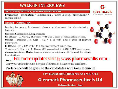 Glenmark Pharmaceuticals - Walk-in interviews for Freshers & Experienced candidates on 13th August, 2019