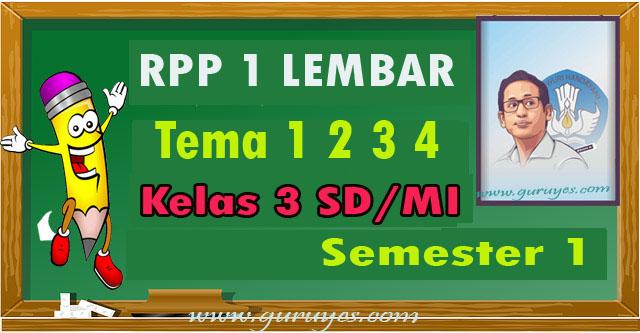 Download RPP 1 lembar SD Kelas 3 Semester 1