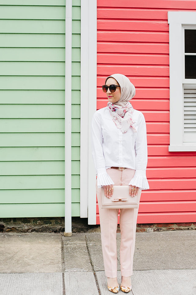 Valtine's Day outfit, Pink Pants, Fells Point Baltimore, Pastel Color Row Houses, Banana Republic Riley-Fit White Pleated Cuff Shirt, Ryan-Fit Luxe Brushed Twill Herringbone Pant, Pink Ted Baker Clutch, Floral pink heels, MAC Girl About Town Lipstick, Hijab Fashion