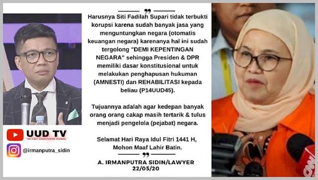 Pakar Hukum Irmanputra Sidin: Harusnya Kasus Siti Fadilah TIDAK TERBUKTI