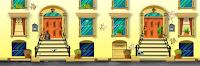 fondo videojuego de fachada edificio de día