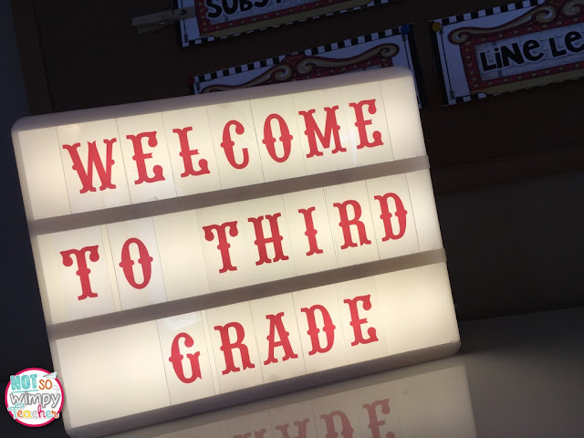Hollywood themed sign that reads Welcome to Third Grade