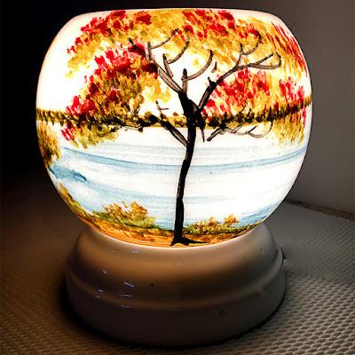 Đèn Xông Tinh Dầu Gốm Bát Tràng Phong Cảnh Đồng Lúa