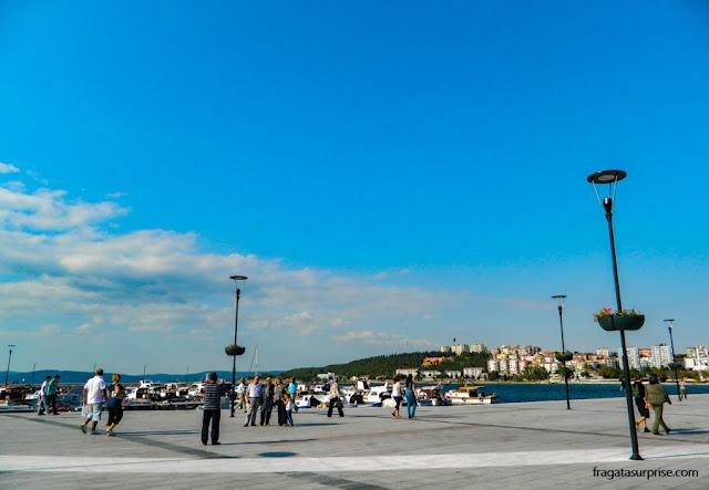 Orla da cidade de Çanakkale, no Estreito de Dardanelos, Turquia