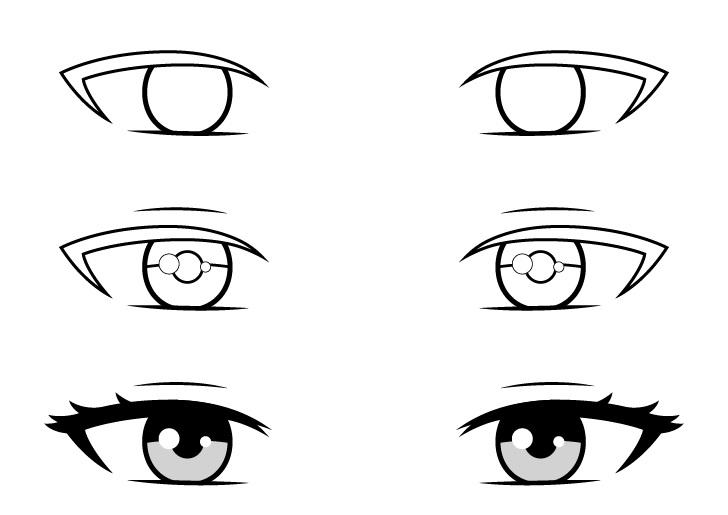 Mata gadis anime cantik menggambar langkah demi langkah