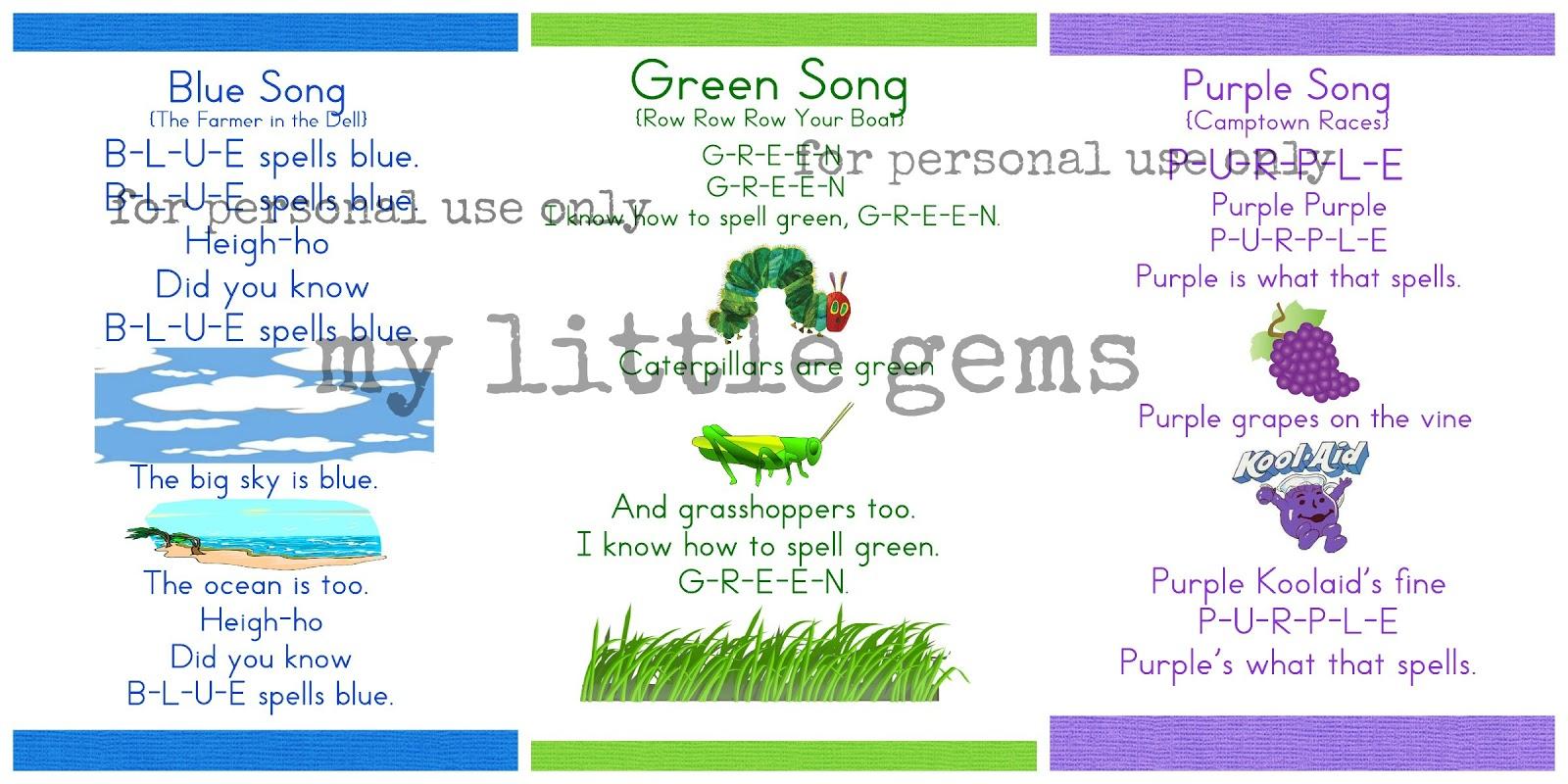 My Little Gems Preschool Color Songs Free Printables Part One
