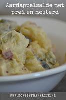 Aardappelsalade met prei en mosterd