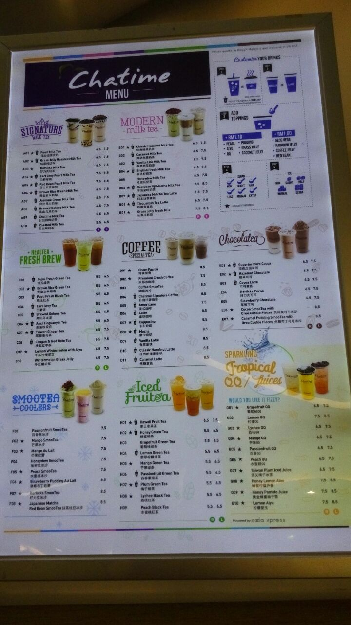 Chatime Menu - Philippines - Updated February 2021