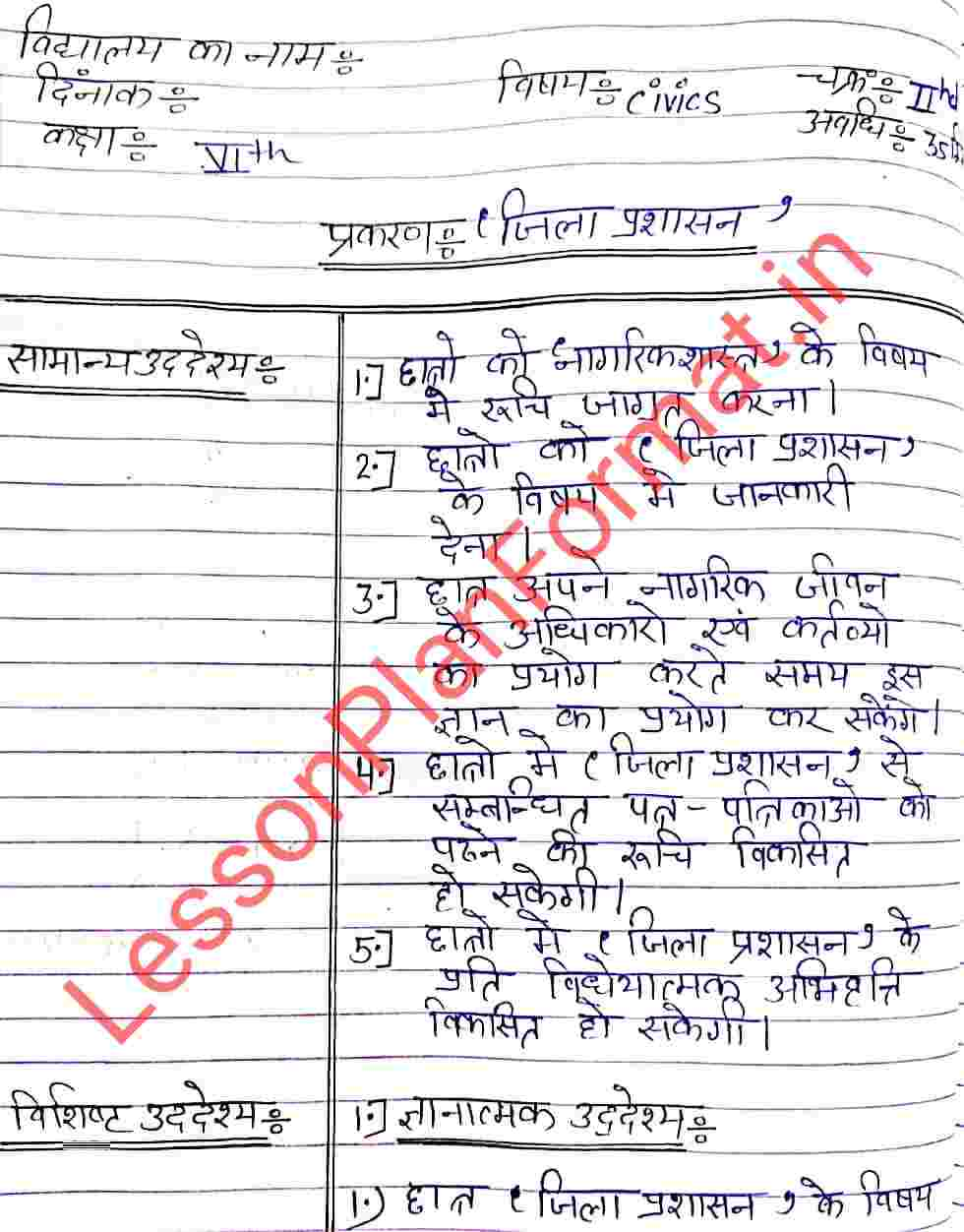 Civics Lesson Plan on District Administration in Hindi