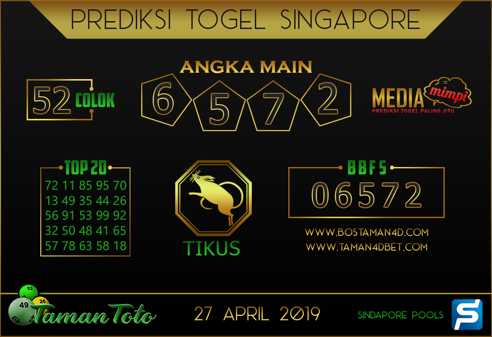 Prediksi Togel SINGAPORE TAMAN TOTO 27 APRIL 2019