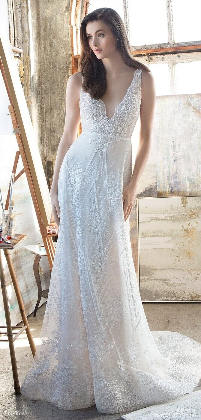 Tara Keely Spring 2018 Ivory beaded floral and chevron modified A-line bridal gown