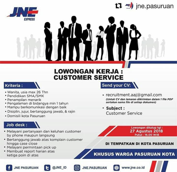 Lowongan Customer Service Di JNE Pasuruan Agustus 2018