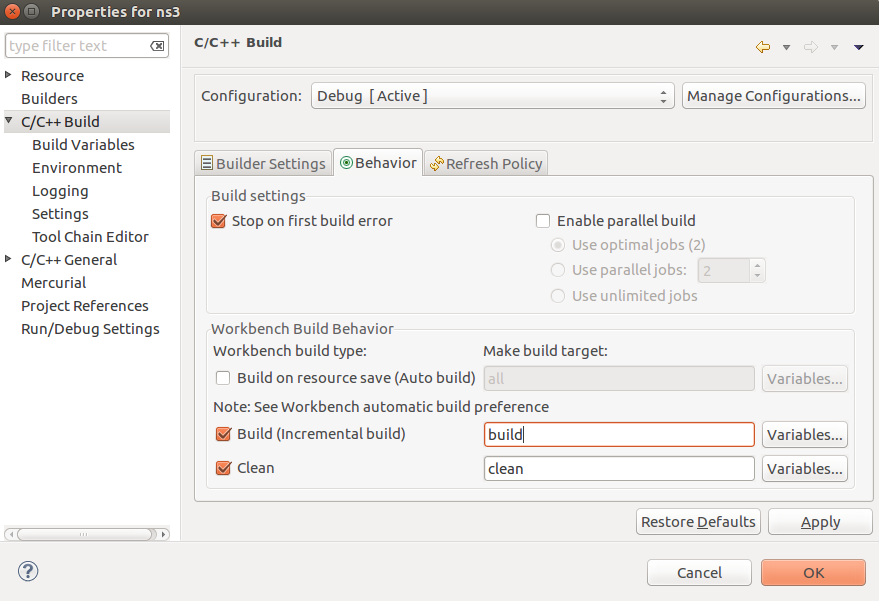 Install and configure Eclipse IDE to use with ns3 on Ubuntu