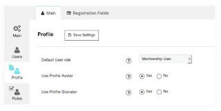 Profile Setting membership by supsystic