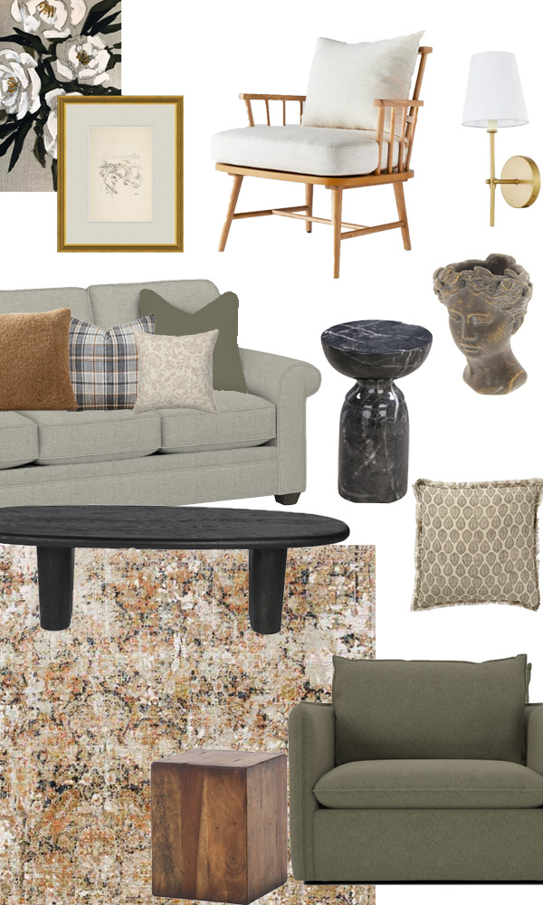 Mood board for eclectic traditional living room design